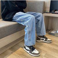 Trendy Marke Jeans Herren Straight Lose Single Breasted Design Denim Hosen Frühling Herbst Hübsche männliche lässige breite Beinhose