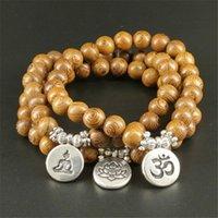 Perles, Strands Bois Perles Lotus OM Bracelet Hommes Tibétatan Bouddhiste Mala Buddha Charm Rosaire Pour Femmes Yoga Bijoux en bois
