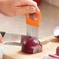 Nouveau Slicer en acier inoxydable Cuisine Gadgets Slicer d'oignon Tomate Légumes Safe Fork Fork Légumes Tranchement Outils de coupe