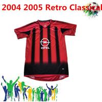 Retro Classic2004 2005 AC Mailand Home Fussball Jerseys Pirlo Maldini Kaka AC 04/05 Retro Football Shirt