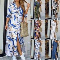 Women Elegant Button Down Long Shirt Dress Summer Chain Print Lapel Neck Party Dress Casual Long Sleeve Maxi Beach Dress Vestido