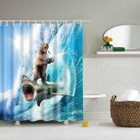 DAFIELD Hayvan Komik Cesur Ayı Bir Köpekbalığı Duş Perdesi Tema Sanat Yıkanabilir Kumaş için Banyo Dekor Duş Perdesi Ayı Y200108