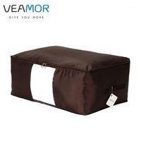 Veamor Oxford Ткань под кроватью для хранения мешок для хранения кроватей Крепление Организатор Space Saver Сумка для одежды Довери к постельного белья Подушка одеяло