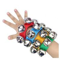 Детские ручные наручные колокольчики игрушка Jingles Shake Percussion Инструмент Детей Ранние образовательные танцующие игрушки для ног Белл музыкальный инструмент YHM98-1