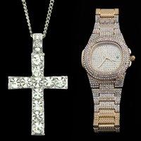 Hip Hop Watch Collana Combo Set Set di orologio di lusso in acciaio inox Collane in acciaio inox Catena Ghiaccio Orologi cubani per gli uomini Jewerly 2019 Y1220
