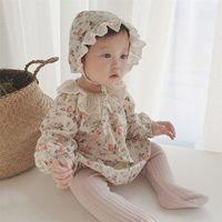 Facey Joyous осень девочка боди новая девочка маленький цветочный с длинным рукавом комбинезон хлопчатобумажного воротника с шляпой 201216