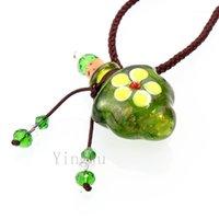 Kolye Kolye Yingwu Murano Cam Yeşil Yağ Külleri Urn Şişe Cork Flakon Kolye Ayarlanabilir1
