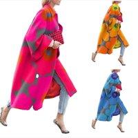 Kadın Artı Boyutu Yün Karışımları Güz Kış Giysileri Kalınlaşmak Giyim S-5XL Uzun Kazak Yaka Boyun Hoodies Flare Kollu Ceket Moda 0718