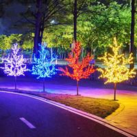 Brillante LED Cerezo Flor de Navidad Iluminación Iluminación impermeable Lámpara de decoración de paisaje para bodas Suministros de Navidad H120cm