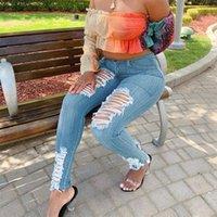 Dames jeans Ripped Denim Women Distressed Skinny Hoge Taille Cut Out Fashion Potlood Pants Streetwear Blue Bodycon Broek