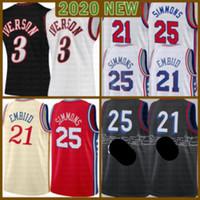 2021 Yeni Joel 21 Embiid Basketbol Jersey Ben 25 Simmons Erkek Allen 3 Iverson Mesh Julius Erving Retro Ucuz Çoklu 6