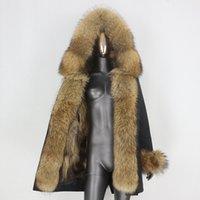 BLUENESSFAIR longo Waterproof Jacket Parka Casaco de Inverno Natural Raccoon Fox mulheres reais Fur Fur Casacos Streetwear removível 201119