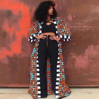 Женщины Мода Африканская Одежда Женская Лоскутное Требовое пальто 2021 Весна осень Улавная Одежда Управления Женские Цветочные Печатные Пальто