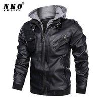 Chaifenko marca abrigo de invierno moda con capucha motocicleta chaqueta PU casual ciclista falsa chaquetas de cuero hombres 201215