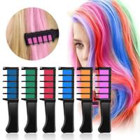 Портативные временные волосы мелочи цветовой гребенью 6 цвет / набор косплей моющиеся волосы цветная гребень для партии макияж