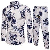 Imprimir Moda Casual Calças Longa Conjunto Plus Size Masculino Roupas de Linho Mistura Mens Designer Correstsuits Outono