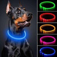 Baxk2 LED PET Собака Силикагель Люминесценция Светящиеся USB Зарядки Силиконовые трубки Воротник Прозрачный Световой Воротник Собаки WWPJV