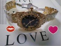 유니섹스 애호가 여성 남성 시계 전체 다이아몬드 골드 시계 전체 라인 석강 스트랩 디자이너 자동 손목 시계 팔찌 시계