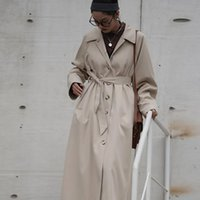 Johnature new 2020 Autumn Long Bandage women Trench Fashion Solid Color Turn-down Collar Pockets Loose Coats