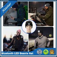 Bluetooth LED Beanie Hat со светлыми встроенным стереодинамиком и микрофоном USB аккумуляторных фарш для наушников мультяшна