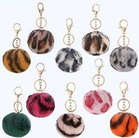 2021 8 cm Zweifarbige Kaninchen Pelzkugel Keychain Tasche Plüsch Auto Keychain Halter Anhänger Schlüsselanhänger Ringe Für Frauen Modeschmuck
