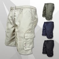 Men Shorts Multi Pocket Summer Loose Zipper Cargo Shorts Cas...