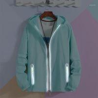 Erkek Ceketler Boy 6XL 7XL Yansıtıcı Fermuar Kapüşonlu Erkekler Ultra Işık Ince Yaz Rüzgarlık Paketlenebilir Cilt Ceket Güneş Kremi Ceket1