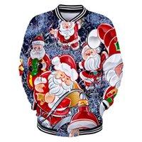 Noel Batı Geleneksel Festivali Noel Baba Desen Baskı Beyzbol KPOP Erkekler / Kadınlar Harajuku Beyzbol Ceketler Giysileri