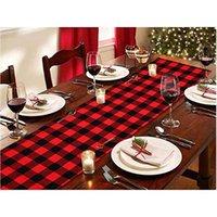 Red Plaid Table Biegacz Do Boże Narodzenie Dekoracji Dekoracji Rodziny Lub Zgromadzenia Kryty Party Wedding Wedding 33 * 274cm HH7-1671