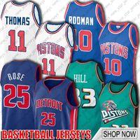 Gerileme Isiah 11 Thomas Dennis 10 Rodman Jersey DetroitPistonJersey Derrick 25 Basketbol Rose Jersey Grant 33 Hill A54SDV