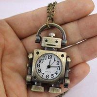 Chaveiros 2021 design do vintage robô forma keyring / cadeia redonda discador de quartzo relógio de bolso saco pingente bonito decoração engraçado acessório presente1
