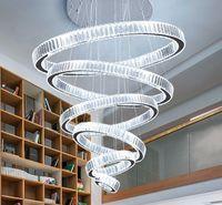Moderne Kronleuchter für Wohnzimmer Große Hotelhalle Treppenhaus LED Crystal Kronleuchter Runde Ringe Light Footures Home Decor Lampe