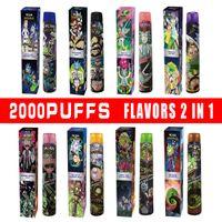 Original 2000Puffs 2In1 Flavors Dispositivo desechable 8ML VAPE PEN VCAN Double RM con batería fuerte Envío rápido de alta calidad