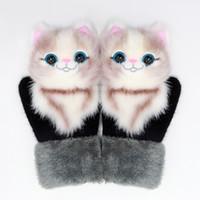 3D animales felpa guantes de invierno knit girls dibujos animados gato perro panda unicornio diseño al aire libre tibia mitones lindos guantes 14 estilo HA1697