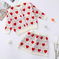 الفتيات الحب قلوب الحياكة ملابس 2021 ربيع جديد الأطفال الحياكة سترة + التنانير 2 قطع عيد الحب الاطفال الملابس A5536
