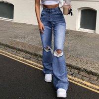 Y2K High Cauda rasgada Gat Right Flare Mulheres Roupas Casuais Denim 90s Baggy Broek Mamãe Vestida Jeans Streetwear