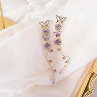 Дизайн шпильки Корейский модный ювелирные изделия кристалл цвет кисточка серьги для женщины великолепная бабочка длинные праздничные серьги1