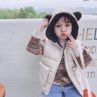 Олекид осень зима детей жилет с капюшоном толстые теплые девушки без рукавов куртка 0-6 лет детей малыш мальчик жилет детский жилет 201110