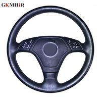 ГКМГИР Натуральная кожаная черная рулевая крышка сшитой ручной рулевой рулевой крышкой для E36 E39 E46 Lnsior Accessors1