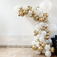 94 pz / set Balloon Garland Arch Kit Gold Bianco Palloncini per Compleanni Baby Doppi Docce Matrimoni Decorazioni per feste Sfondo S8XN T200624