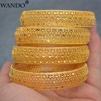 Wando 4PCS / LOT 24K Золотые браслеты для женщин Золотая Дубай невеста Свадьба эфиопский браслет Африка браслет арабские украшения золото очарование WB97 Y1126