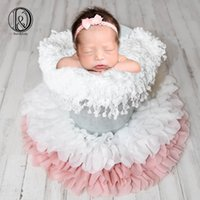 Don&Judy  lot Round Flower Soft Chiffon Cushion Photography Baby Props Newborn Photography Prop for Photo Shoot LJ201105