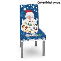크리스마스 테이블 천으로 의자 커버 개별 산타 클로스 파란색 배경 장식 파티 장식