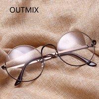 Mode Sonnenbrillenrahmen Computer Brille Rahmen für Frauen Männer Retro Klassische Metall Runde Eyewear Myopie Optische Spiegel Dekorative Specyacles