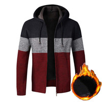 Mens Sweater Coat Thick Warm Zipper Wool Hooded Cardigan Jumpers Male Striped Jackets Long Sleeve Casual Knitwear