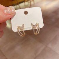 Requintado CZ Crystal Borboleta Brincos Jóias Cor de Ouro Cubic Zirconia Stud Brincos Para As Mulheres