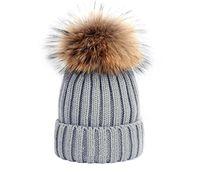 Горячая мода зима вязаная натуральная меховая шляпа женщин утолщение шапов с 15см реальный енот меховые помпоны теплые девушки шапки Snapback Pompon Beanie Hats