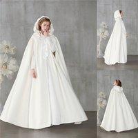 Ucuz Kış Sıcak Fildişi Kadife Düğün Kapşonlu Cloak Gelin Pelerin Hood Coat Robe Ile Custom Made Cosplay Sarar