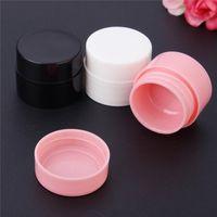 Bianco nero rosa piccola rotonda crema bottiglia 5g barattolo piatto contenitore vuoto cosmetico campione contenitore per stoccaggio di arte del chiodo