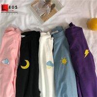 Harajuku Météo Broderie Femmes T-shirt Cartoon Lâche All-Match Summer Manches courtes Simple Kawaii Candy Couleurs Tshirt 201028